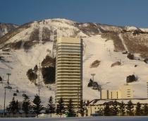 目の前に広がるスキー場