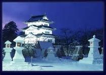 冬の弘前城、雪灯篭~♪