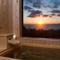 露天風呂から見る日の出