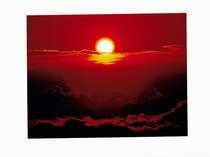 赤く昇る日の出