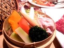 豚肉とヘルシー温野菜