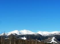 冬、白く輝く乗鞍岳。