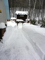 冬季、ゲストハウスへの雪道。