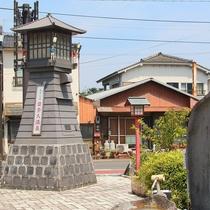 【日奈久温泉 憩いの場】日奈久温泉「憩いの広場」は山頭火の石碑が目印です。