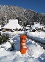 赤ポストと雪景色ひろがるかやぶき集落