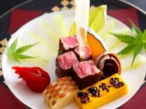 和牛のステーキ。とろける柔らかさと絶妙の焼き加減
