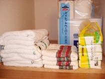 タオル類は予備も充実。長期滞在には大事なポイントです!