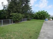 駐車場横:芝生スペース