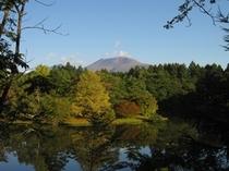 塩沢湖からの浅間山