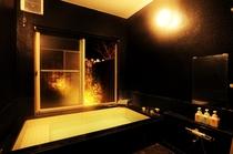 貸切風呂(吐水式) 夜はライティングの雰囲気を
