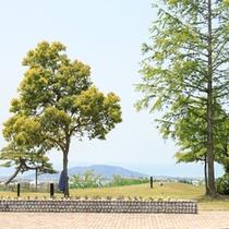 晴れた日には伊吹山、琵琶湖、対岸の湖西の山々が望めます。