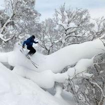 【スキー場】パウダージャンプも可能「サイドカントリーパーク」
