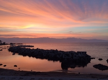 両津港の夕日