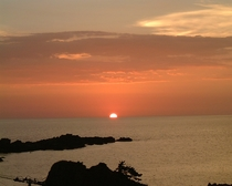 七浦荘から見た夕日②