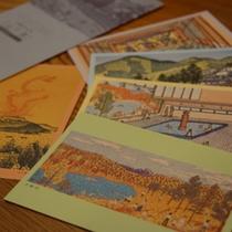 【お土産】人気のお土産は当館を描いた山下清絵葉書セット