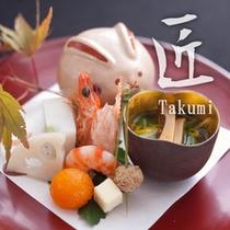 【匠膳:前菜 季節の前菜】秋の味覚に富山名産の酒肴を添えた前菜。調理長の料理への姿勢の現れた一品。