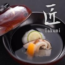 【匠膳:椀物 白海老つみれと焼き松茸 清汁仕立て】白海老をふんだんに使ったつみれと松茸の豊潤な香り。
