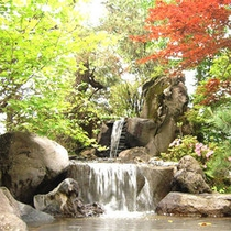 滝の流れる日本庭園