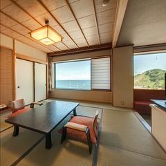水平線を眺めるオーシャンビュー和室12畳◆個室お食事処