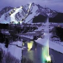展望露天風呂からのスキー場