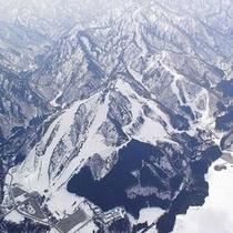 スキー場の空からの写真