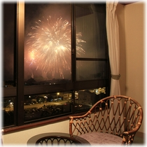 【客室】 温泉街側 キュリー祭花火 ①