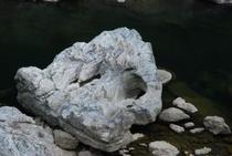 ポットホールという堅い石が岩をくりぬいてできた穴になる現象