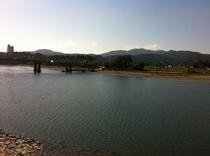 仁淀川フォト!いの町~仁淀川 スタートはかんぽの宿が対岸に見えるいの町の場所から町