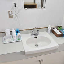 ■清潔感のある貸切風呂の洗面台