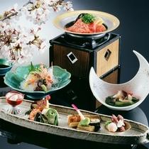 【春 料理イメージ】桜鯛をはじめ、筍、山菜を取り入れた、華やかな料理の数々