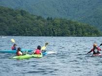 野尻湖でカヌー