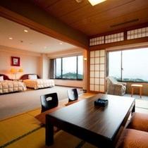 【部屋】特別室(大地館)10畳と6畳の2間続きの和室と、約20平米のベットルーム