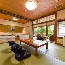 *【露天付客室】和の雰囲気を大切にしながらもベットでご就寝いただけるお部屋となっております。