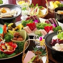 カップル皿鉢御膳の献立一例