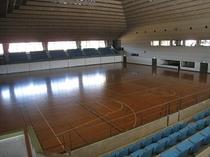 体育館アリーナバレーボール2面、バスケ2面、ハンドボール1面、卓球台15台、バドミントン8面
