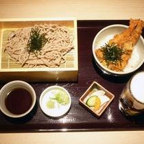 ご夕食一例(ざる蕎麦と天丼)