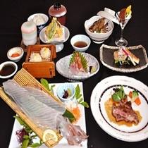 通常夕食【イカとステーキ】