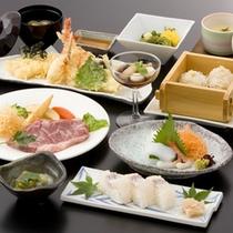 天ぷら・押し寿司・牛ステーキ(料理一例)