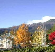 紅葉のむこうに 御嶽山頂を望みます。