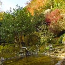 耶馬渓の紅葉の中にある当館露天2