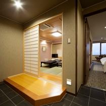 【プレミアムルーム】広々としたつくりのプレミアムルームは全室バリアフリー対応となっております。