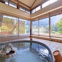 *大浴場/温かい湯船に浸かりながら、自然のぬくもりに心癒されるひと時を。