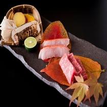 金目鯛と夢咲牛秋の味覚松茸の炭火焼き