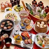 鯛の舟盛と季節の釜飯付き卓袱料理