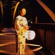 ◆提灯◆白壁荘の提灯を持って、出会い橋まで