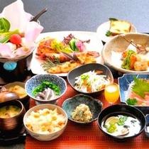 地元の旬の食材を使った会席料理(例)