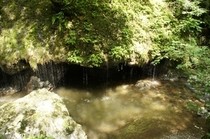 【神庭の滝】玉垂れの滝です。草葺き 屋根から落ちる雨垂れに似た奇観がとても美しい滝です。