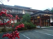 真っ赤に染まった潅木と玄関