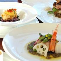 *【夕食例】伊豆の海山の味覚と自家栽培の野菜を使ったお食事。