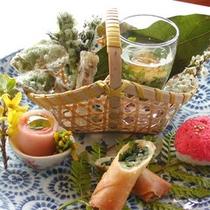 *伊豆大島の海の幸・山の幸を使った お料理